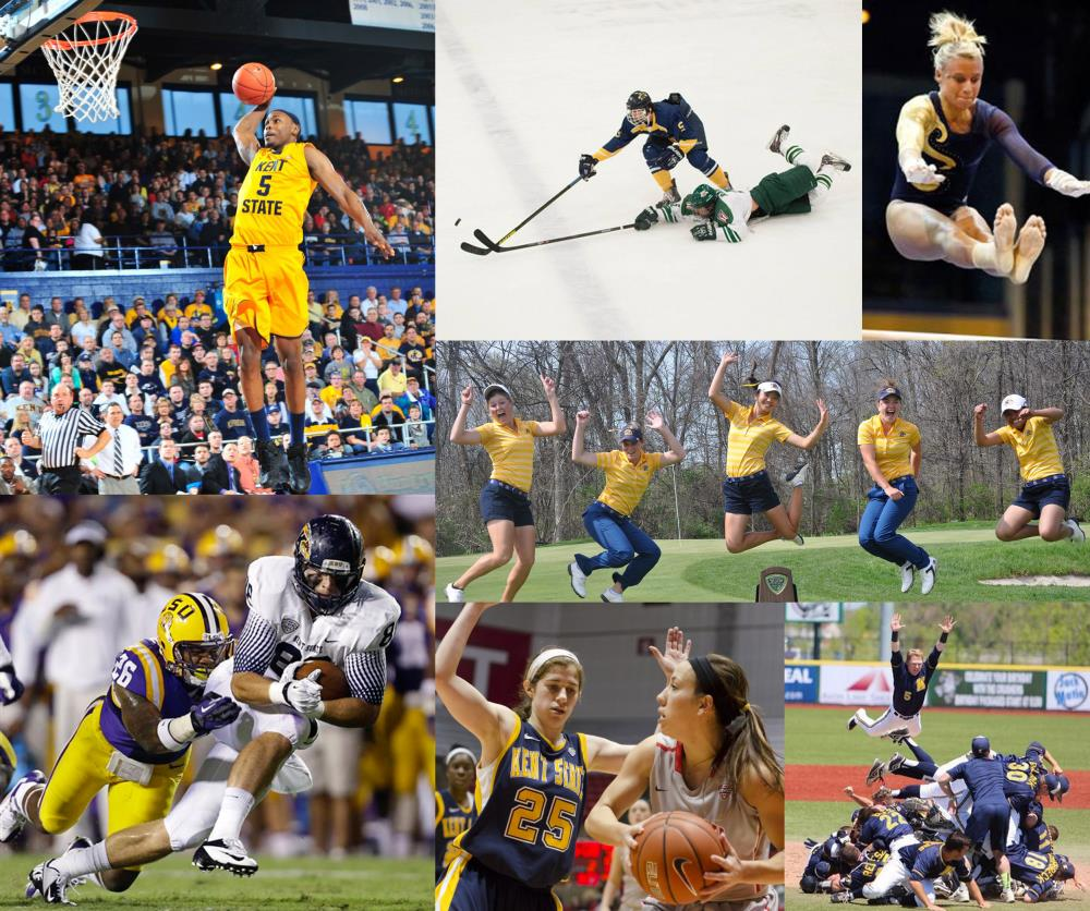Collage of various Kent State University sporting events