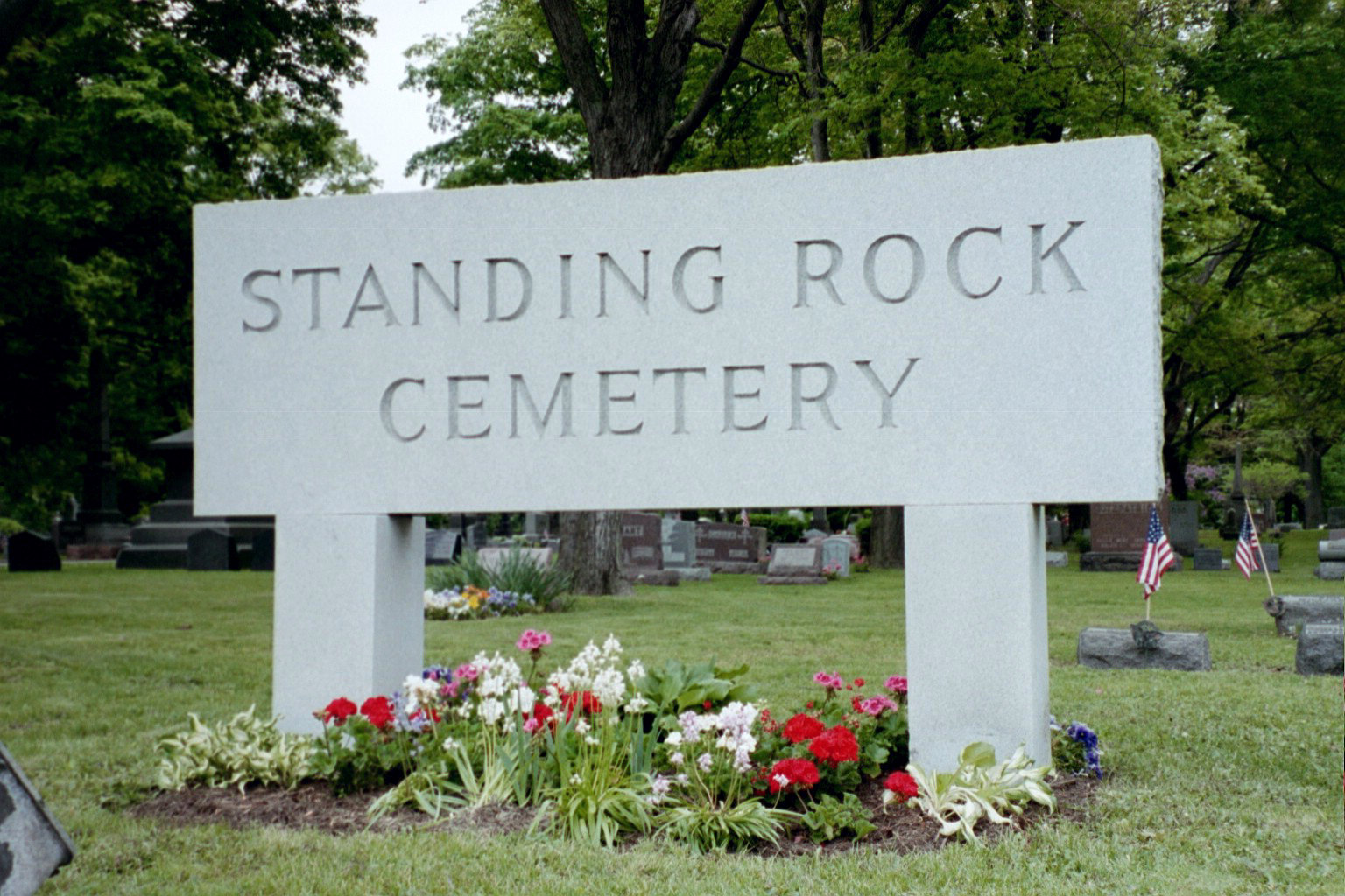 Standing Rock Cemetery stone sign